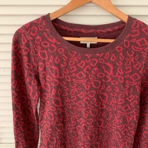 Lucky Brand Leopard Sweater Red Size